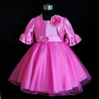 AU HP668 Hot Pinks Wedding Flower Girls Dress + Cardigan  1,2,3,4,5,6,7,8,10,12Y