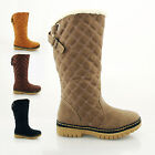 LADIES FASHION WINTER CALF SNOW BOOTS GRIP SOLE WARM FUR LINED SIZE 3 4 5 6 7 8