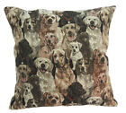 Nj31a Linen Blend Brown Dog Puppy Pattern Cushion Cover/Pillow Case*Custom Size*