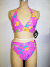 NWT Women's Shore Shapes Pink Floral Print Full Coverage Two Piece Bikini S M L