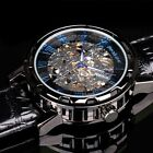 Semi Automatic PACIFISTOR Gent Mens Mechanical Analog Watch Black Leather Strap