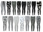 NEW PLUS SIZE BLACK WHITE CROSS SKULL TIE DYE PRINT STRETCHY LEGGINGS 16-20