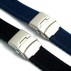 Silicone Deployment Mens Watch Strap Band 20mm 22mm (Style 2 Criss-Cross) C035