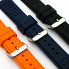 Silicone Rubber Watch Strap Band Stainless Steel Buckle 22mm 24mm (style 4) C037