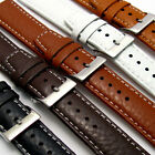 Padded Buffalo Grain Leather Watch Strap Band 22mm 20mm 18mm Contrast Stitching