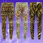 GIRLS Aztec OR Tiger LEGGINGS MULTI-COLOURED KIDS TEEN  7 8 9 10 11 12 13 NEW