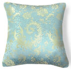 BL079 Gold Turquoise Peony Paisley Rayon Brocade Pillow/Cushion Cover*Custom Siz