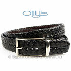 "Stylish Fine GRAIN BLACK BROWN LEATHER BELT 1.15""  OLLYs Design HAMPTON Mens"