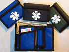 Black Trim Nylon bifold Medical Wallets with a white medical symbol outside