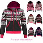 NEW LADIES AZTEC PRINTED HOODED FLEECE ZIP HOODIE SIZ4 8-14