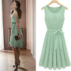 Fashion Womens Chiffon Pleated Mint Green Sleeveless Dress