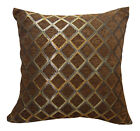 Wd38Ba Dark Brown Damask Chenille Check Throw Cushion Cover/Pillow Case *Size