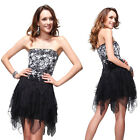 Lovely Black Lace Short Cheap Cocktail Party Prom Homecoming Ball Dresses 00202