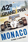 AZ09 Vintage 1984 42nd Monaco Grand Prix Motor Racing Poster Re-Print A1/A2/A3
