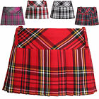 "WOMEN SEXY TARTAN 9"" MICRO MINI SKIRT CHECK PLEATED SHORT SKIRT HIPSTER KILT"