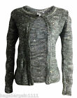 EX M&S LADIES MOHAIR GREY BROWN SILVER SEQUIN SPARKLY EVENING KNITTED CARDIGAN