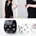 Cool Punk Rivet Star Metal Clip Button Wide Leather Wristband Bracelet HFUK