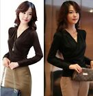 Women Spring Sexy V-Collar Long Sleeve Fashion T-Shirt Primer Shirt Tops Blouse