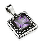 Stainless Steel Classy Faceted Created Amethyst Pendant w/ Necklace