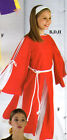 NWT PRAISEWEAR TUNIC RED WHITE INSET LADIES SLIT BELL SLEEVE DANCE LITURGICAL