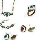 Punk Rock Antique Bronze Retro EVIL EYE Stud Earring/Pendant  Necklace/Ring