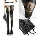 Sexy Fashion Faux PU Leather Black Lace Leggings Tights Pants Retro Gothic Punk