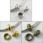 40Pcs Tibetan Silver Gold Bronze 6mm Hole Round Bead Charm Fit Bracelet 8.5mm