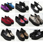 NEW LADIES PLATFORM LACE UP TRENDY RETRO WOMENS FLATS CREEPERS GOTH PUNK SHOES