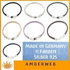 Lederarmband Silber 925 Karabiner geflochten für Beads + Charms Made in Germany