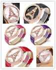 Lady Eiffel Tower Dial Rosy Golden Case Faux Leather Crystal Quartz Analog Watch