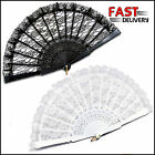 Black or White Lace Fans Spanish Flamenco Sexy Moulin Burlesque Victorian Gothic