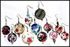 Lovely Patterned Shell & Crystal Beaded Earrings *Made in USA* FAST Shipping #B1