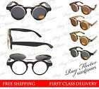 Flip-up Steampunk style vintage sunglasses and clear lens in one frame. Duo