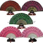 Chinese Embroider Folding Sequins Hand Flower Fan Wedding Party Costume Dancing