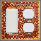 Metal Light Switch Plate Cover - Italian Tile Pattern Fiore Orange - Home Decor