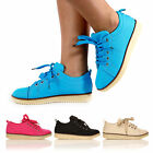 WOMEN FLAT MOCCASIN SHOES NEW LADIES LACE UP SHOES SIZE 3-8