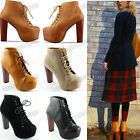 New Style Women Ladies 4 Color Thick With High Heels Lace Up Ankle Shoes Boots