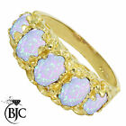 BJC® 9ct Yellow Gold Victorian Style 2ct Opal 5 Stone Ring Sizes K - V Brand New