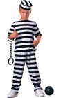 Child PRISONER BOY Convict Costume Striped Jail Inmate Kids Fancy Dress Outfit