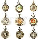 Retro Bronze Hollow Roman Mechanical Pendant Pocket Watch Steampunk Skeleton