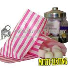 "PINK STRIPE CANDY PAPER SWEET BAGS 5""x7"" BUFFET GIFT SHOP KRAFT PARTY BAGS"