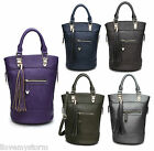 NEW LADIES CELEBRITY TASSEL BUCKET BAG LADIES SHOULDER FAUX LEATHER HANDBAG
