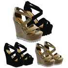 LADIES WOMENS PLATFORM HIGH HEELS STRAPPY PEEPTOE GOTHIC SANDALS WEDGES SHOES
