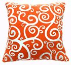 AL241a Orange White Curve Wave Cotton Canvas Cushion Cover/Pillow Case Custom