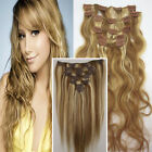 "15-22"" #12/613 LIGHT BROWN&BLONDE STRAIGHT*WAVY CLIP IN HUMAN HAIR EXTENTIONS"