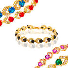 Fashion Lady Gift 18 Carat Yellow Gold Plated Birthstone Tennis Bangle Bracelet