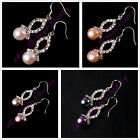 Fashion freshwater pearl rhinestone chain S925 silver hook dangle earrings