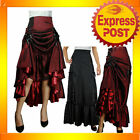 RK68 Black Burgundy Three Way Lace Up Skirt Burlesque Spanish Rockabilly PLUS