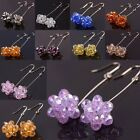 1 Pair Candy Color Crystal Glass Beads Dangle Bubbles Hook Ear Earrings Jewelry