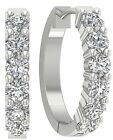 SI1/G Prong Set 0.90 Ct Genuine Round Cut Diamond 14K Gold Hoops Huggie Earrings